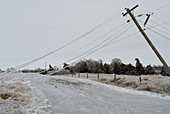 Ice storm,damaged electric,tele lines