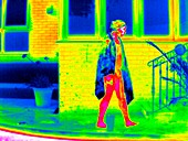 Swimmer draped in a towel,thermogram