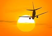 Boeing 737 ascending at sunset,artwork
