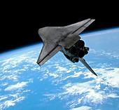Space shuttle entering Earth orbit
