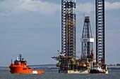 Jackup oil drilling rig,North Sea