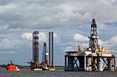 Oil drilling rigs,North Sea