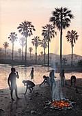 Early human settlement,artwork