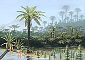 Prehistoric tree ferns,artwork