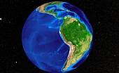 South America,satellite image