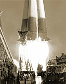 Launch of Vostok 1 spacecraft,1961