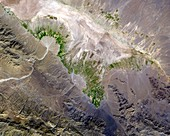 Alluvial fan and fields,satellite image