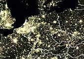 Central Europe at night,satellite image