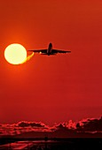 Boeing 747 taking off at sunset