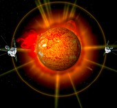 STEREO satellites in orbit,artwork
