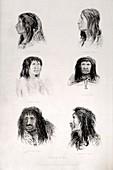 Fuegian tribes - Fitzroy's Beagle Portrt