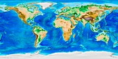 Global land and sea floor topography