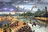 Early Cretaceous life,artwork