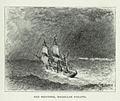 Bad weather,Magellan Straits,artwork