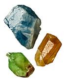Three calcite crystals