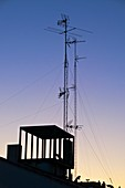 Antenna masts on a building
