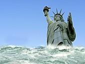 Tsunami engulfing Statue of Liberty