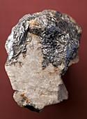 Graphite on calcite crystals