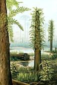 Cretaceous tree ferns,artwork