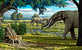 Wildlife of the Miocene era,artwork