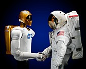 Robonaut 2 and astronaut