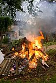Bonfire in domestic garden