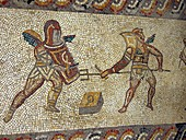 Roman mosaic of gladiators