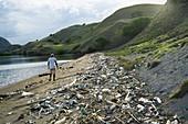 Polluted beach,Komodo Island,Indonesia
