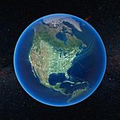 Human presence over North America
