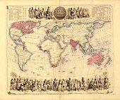 British Empire world map,19th century