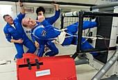 ESA astronauts training in free-fall