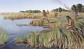 Homo erectus lakeside camp