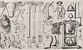Science illustrations,17th century