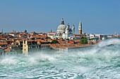 Tsunami striking Venice,montage image