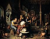 Chemist working,historical artwork