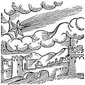 Comet over a castle,16th century