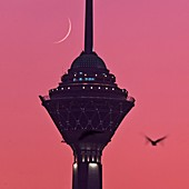 Crescent Moon behind Milad Tower,Iran