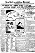 Newspaper report on Titanic disaster