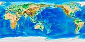 Global topography,ETOPO1 model