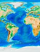 Atlantic Ocean topography,ETOPO1 model