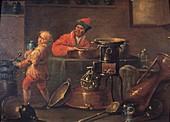 Alchemist experimenting,18th century
