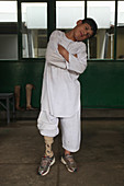 Boy with artificial leg,Afghanistan