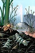 Devonian invertebrates near a geyser