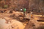 Artisan miners panning for gold,Kenya