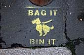 Bag it and bin it,dog faeces sign