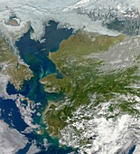 Bering Strait,satellite image