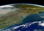 East coast of the USA,satellite image