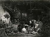 Alchemist at work,19th century