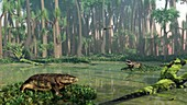 Eryops prehistoric amphibians,artwork