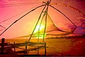 Fishing nets at sunset